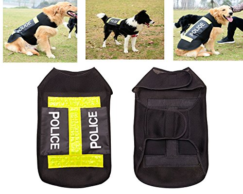 Guard Dog Vest Police Costume Training Pants Jacket Hoodie Clothing Accessories (Police Costume For Dog)