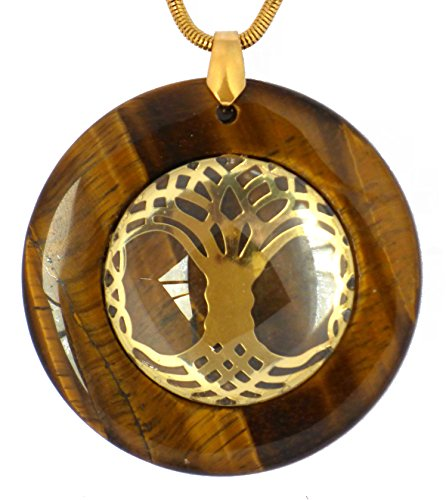 Celtic Tree of Life solid Circular Sacred Geometry Pendants (Tiger's Eye- brown) Brown Celtic Pendant