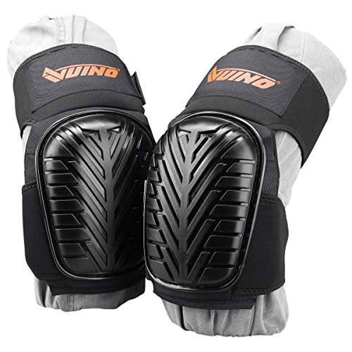 VUINO Professional Heavy Duty EVA Foam Padding Knee Pads with Comfortable Gel Cushion and Adjustable Straps for Working, Gardning, Cleaning, Flooring, Tiling and Construction (Black) by Ningbo Xinweinuo Fanghuyongpin Co.,Ltd