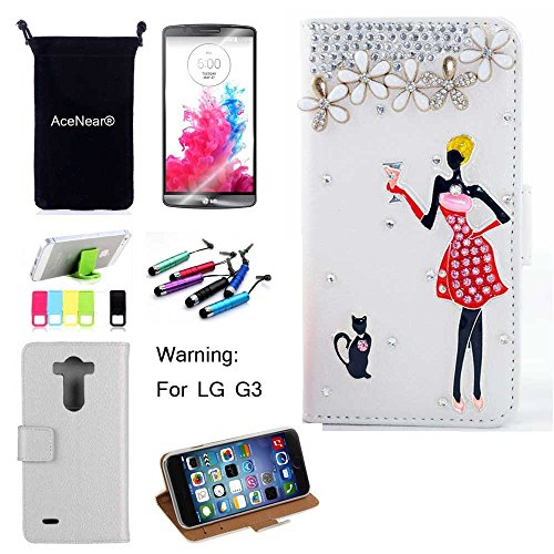 G3 CASE AceNear(TM) For LG G3 Ultrathin Wallet Folio Stand Support Leather Case Series & Stand holder & Headset Dust Plug Capacitive Stylus & Screen Protector - cat girl white leather