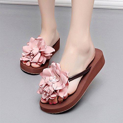 Amazing chanclas Sandalias de tacón bajo Zapatos de playa antideslizantes femeninos de verano Zapatillas de playa Casual ( Color : B , Tamaño : EU36/UK4/CN36 ) A