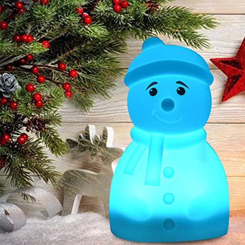Studyset Cute Cartoon Animal Shape 7Colors Change Silicone Pat Lamp Dry Battery Style Snowman ()