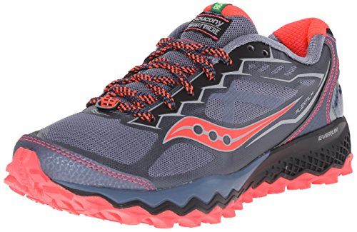 Saucony Women's Peregrine 6 Trail Running Shoe, Grey/Pink, 7.5 M US