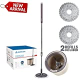 DOMICARE 360° Magic Spin Mop and Bucket Set with 2 Replacement Microfiber Wringer Mop Heads for Floor Cleaning