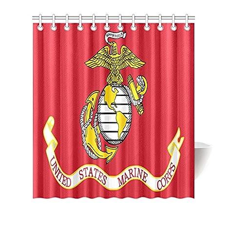 USMC Waterproof Fabric Shower Curtain Bathroom Curtain with Hooks