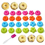 25-Pcs Fluted Cake Pan Set| Silicone Fancy Dessert Mold and Basting Brush, 2.95 Inch Small Bundt Cake Cups| Pumpkin, Star, Flower, Heart, Savarin Shapes Mould For Doughnut, Mini Cakes, Cookie, Sushi
