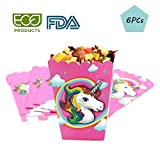 WIXDROD Unicorn Popcorn Boxes-Birthday Party Themed Unicorn Cardboards Containers Paper Bright Colors and Prints Perfect for Wedding, Carnivals, Events, Parties – 6 Pcs