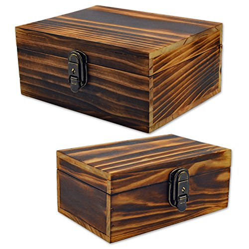 2 Sets Jewelry Box,Wooden Storage Box,Icefire Handcraft Wood Box Kit,Case Cabinet Container with Lock and Key Rustic Western for Keepsake,Photo,Trinket,Letter,Document Organizer (Retro yellow) (Box Lock Decorative)