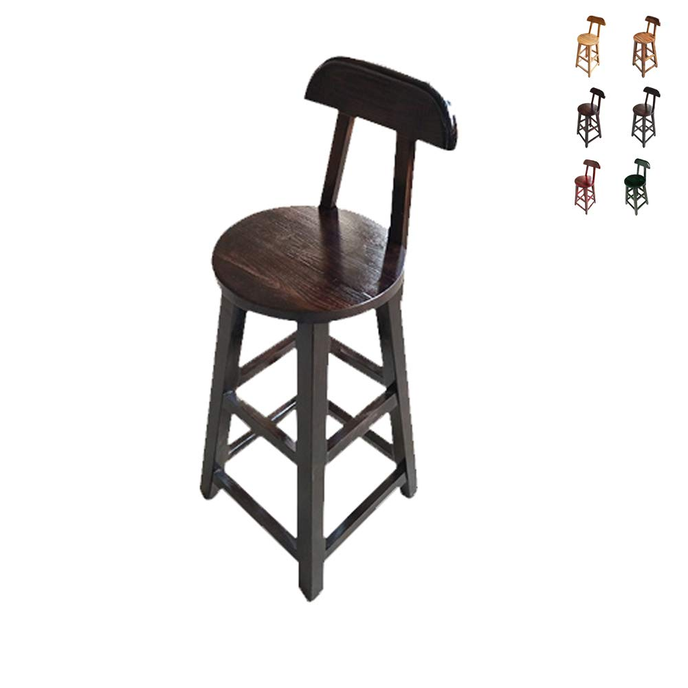 D Solid Wood Retro Bar Stool - Home Dining Table and Chair Backrest High Stool - High 90cm