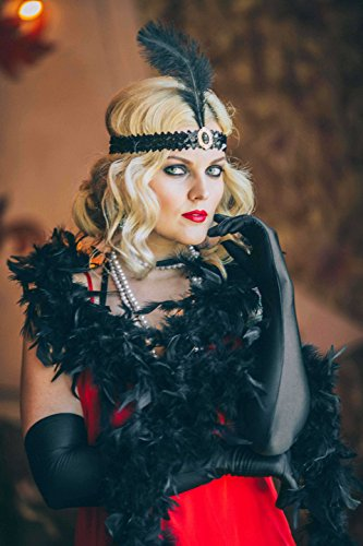 Luxury 1920s Flapper Great Gatsby Accessories Costume Set by Vowster with Sequinned Headpiece,Necklace,Feather Boa,Elegant Long Gloves,Stylish Cigarette Holder. For the Art Deco, Vintage Fancy (Great Gatsby Costume Accessories)