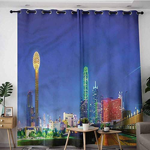 AndyTours Extra Wide Patio Door Curtain,USA Panoramic Overview Dallas City,W84x108L]()