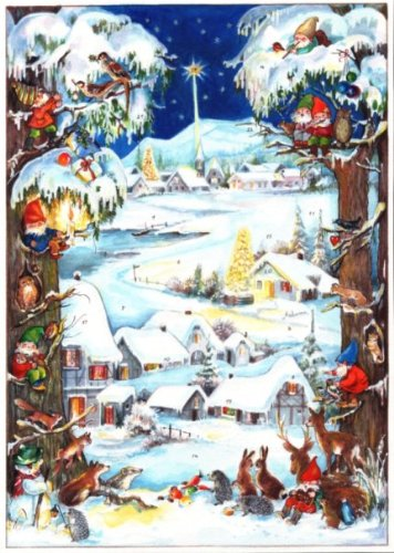 Snowy Village German Advent Calendar Pinnacle Peak