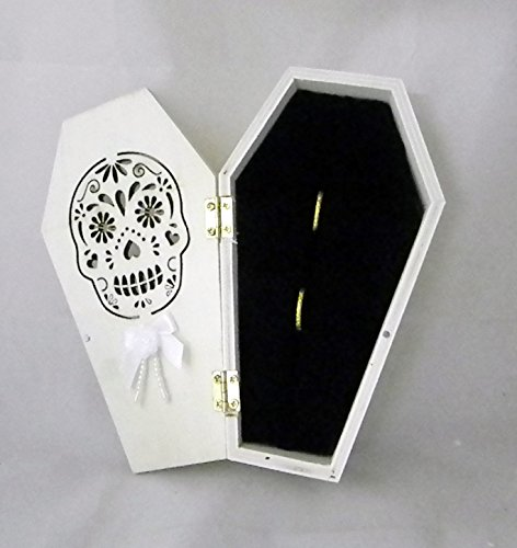 Wedding Ceremony Sugar Skull Gothic Coffin Tombstone ring bearer pillow -