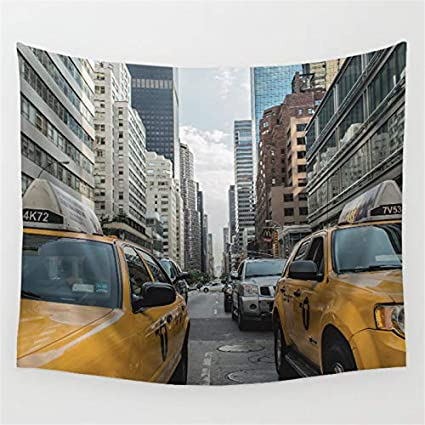 OATHENE New York The Fifth Avenue Yellow Taxi TapestryAmerican Street View Wall Hanging