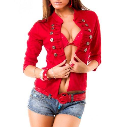 Chick Rebelle Gilet pour femme  boutons style militaire 6 coloris disponibles Rouge - Rouge