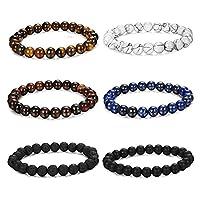 THUNARAZ 6PCS Bead Bracelets for Men Women Natural Stone Mala Bracelet