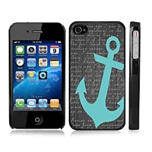 Turquoise Anchor Sailor Sea Life Scripted Snap-On iPhone Cover with Black Carrying Case for iPhone 4/4S