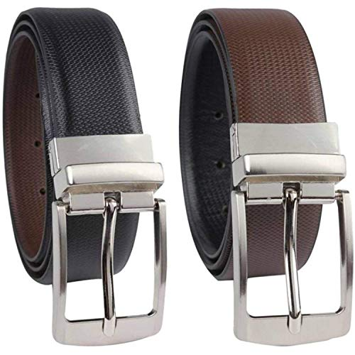 Lavish Men's Genuine PU Leather Reversible 2-in-1 Casual Formal Belt (Black and Brown)