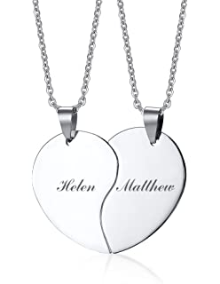 ac2a42de347c PJ Stainless Steel Personalized Custom Engraved Name Puzzle Heart Matching  Necklace Set for Couples