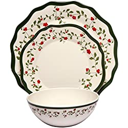 Melange 12-Piece 100% Melamine Dinnerware Set (Holiday Berry Collection )   Shatter-Proof and Chip-Resistant Melamine Plates and Bowls   Dinner Plate, Salad Plate & Soup Bowl (4 Each)