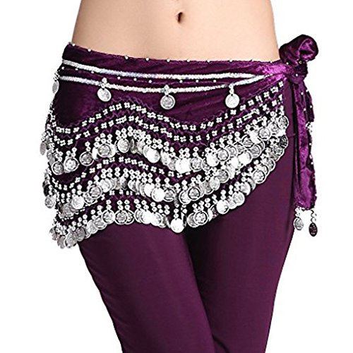 - Wuchieal Women's Belly Dancing Belt Colorful Waist Chain Belly Dance Hip Scarf Belt (One Size, Purple-Silver coins)