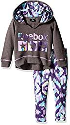 Reebok Baby Girls\' Performance Hoodie and Pant Set, Medium Heather Grey, 12M