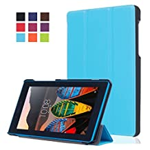 """7-inch Lenovo Tab3 Folding Case Cover,7""""Lenovo Tab 3 Essential Case - [Scratch Resistant][Luxury PU Leather] Ultra Slim Light Weight Protector for 2016 Lenovo Tab3 Case,Built-in Stand with Multiple viewing Angles-Light blue"""