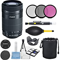 Canon EF-S 55-250mm F4-5.6 IS STM Lens for Canon SLR Cameras with 3pc Filter Kit (UV, CPL, FLD) + Deluxe Pouch + Hood + Cleaning Kit - International Version