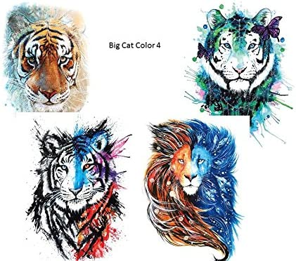 4 Sheets Tiger León Tattoo Multicolor Pulsera brazo tatuaje falso ...