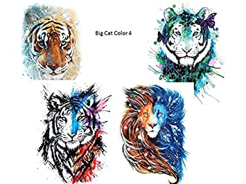 4 Sheets Tiger Lowen Tattoo Bunt Arm Oberarm Tattoo Fake Tattoo Big