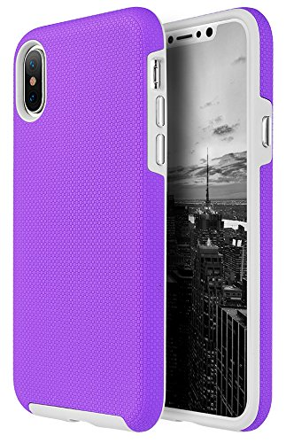 iPhone X Case, Nakedcellphone Bright Pink [Micro Texture] Grip Skin Hybrid Anti-Impact Cover [with Dedicated Chrome Buttons] for Apple iPhone X (aka iPhone ...