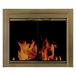 Pleasant Hearth CA-3200 Cahill Fireplace Glass Door, Antique Brass from GHP Group -- Drop Ship Only