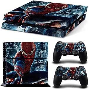 Spiderman para PS4 piel de vinilo para Sony Playstation 4 consola de control de la cubierta de la etiqueta engomada y 2 controlador Gamepad controlador Decal: Amazon.es: Videojuegos