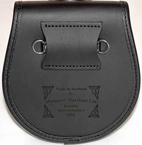 Dennistoun Semi Sporran Fur Plain Leather Flap Scottish Clan Crest