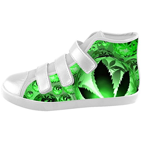 Custom Kid's Shoes Green Grass New Velcro High Top Canvas