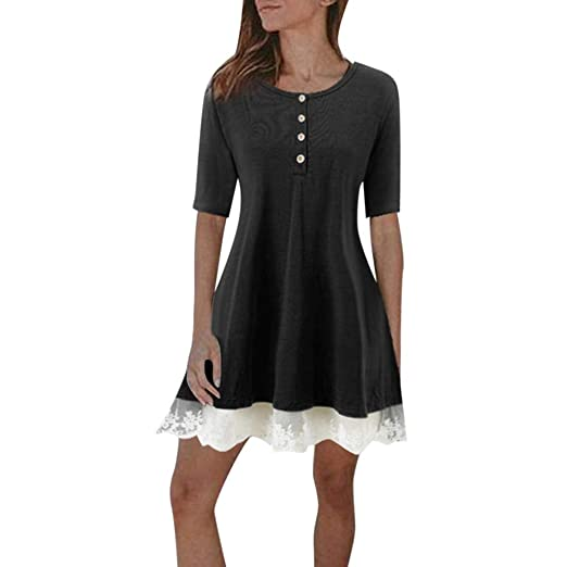 2853f978bfba4 Pervobs Women's Summer Casual T Shirt Dresses Short Sleeve Lace Stitching  Plain Swing Party Dress Tops