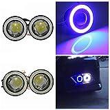 Car Fog lights Daytime Running Light Kit-3.5inch White Universal Waterproof 1200Lm Angel Eyes COB LED DRL Driving Lights,2Pcs