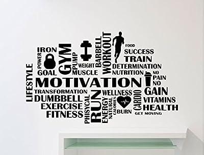 Gym Motivation Wall Decal Words Cloud Athletics Gymnastics Motivational Fitness Vinyl Sticker Home Sport Gym Art Decor Quote Inspirational Lettering Mural Fit Training Workout Vinyl Sticker 103gy