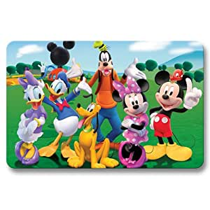 Cheerful Doormat Floor Mat Non Skid Mickey Mouse Clubhouse Outdoor Bathroom 16x24Inch / 40x60cm