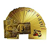 Tcplyn Waterproof Playing Cards 24K Gold Foil Poker Playing Cards Luxury Full Poker Deck Card