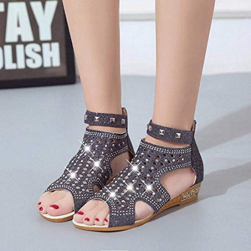 Slingback 2 Les Taille Pour Glitter FemmesSummer Sandals Gold Wide Fit Diamante Jeweled Toe Qiusa Gladiator Heel Chaussures Strap Bling Open Ankle Paillettes 6 Or Low Wedge BCxoQdWEre