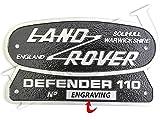 LAND ROVER SOLIHULL WARWICKSHIRE ENGLAND DEFENDER 110 PLATE BADGE & ENGRAVING PART: DEFENDER110ALUMINIUM