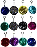 12 Pack 3.5 Inch Round Color Changing Rainbow Sequin Coin Purses