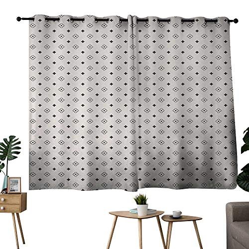 (NUOMANAN Curtains 63 inch Length Geometric,Old Fashioned Wallpaper Design with Floral Like Geometrical Icons Art,Charcoal Grey Beige,Light Blocking Drapes with Liner 42
