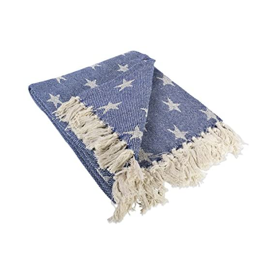 """DII Woven Throw Blanket with Decorative Fringe, Star, Nautical Blue - CONSTRUCTION - Throw measures 50 x 60"""", made of 100% woven cotton with 2.5"""" decorative fringe finish that won't unravel in wash QUALITY IN THE DETAILS - A throw to celebrate our independence, these blankets are durable and versatile. An easy way to add color and texture to freshen your home for spring or warm it up in the winter. CELEBRATE INDEPENDENCE - Bring this blanket to BBQ's on the 4th of July to keep you warm during the firework show or stretch out on it under the stars - blankets-throws, bedroom-sheets-comforters, bedroom - 519BmAdKQcL. SS570  -"""