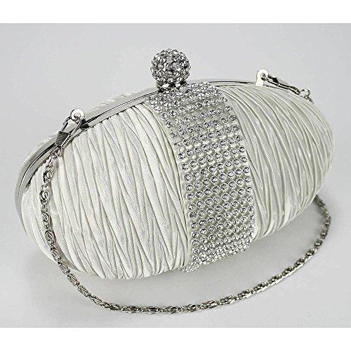 TrendStar - Cartera de mano mujer - Ivory Satin Clutch Bag