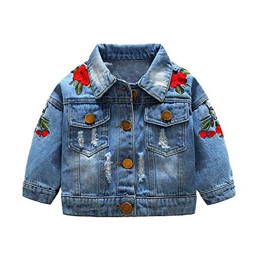 Top and Top Baby Girls Denim Jacket Rose Flower Embroidery Toddler Ripped Denim Coat for Kids (90/12-18 Months)