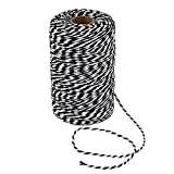 656 Feet Black and White Twine,200m Cotton Bakers Twine,Christmas Gift Wrapping Twine,Cotton Cord Kitchen Twine