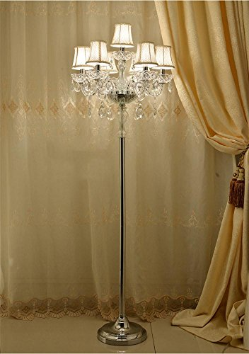 - Uncle Sam Li@ European Luxury Crystal Floor Lamp With Lampshade Fashion Marriage Room Bedroom Candle Floor Lamp Decorative Lighting 52162cm Reading and Craft Floor Lamp (Size : 7 heads)