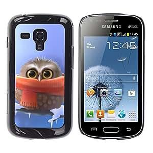TopCaseStore / la caja del caucho duro de la cubierta de protección de la piel - Cute owl Cute Winter Owl - Samsung Galaxy S Duos S7562